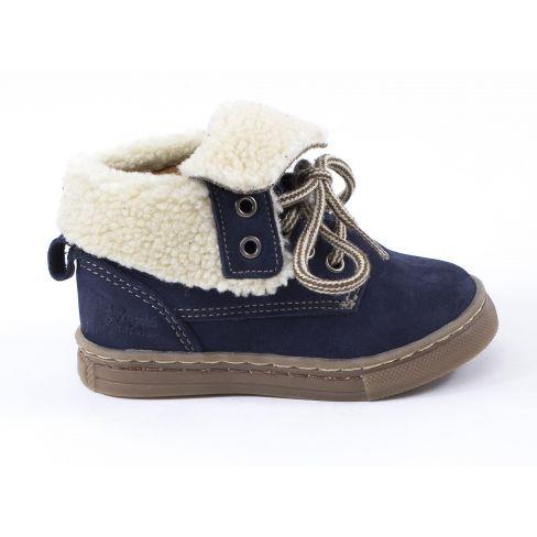 Babybotte Chaussures enfant garçon 1er pas ALTEROFILI bleu col fourrure