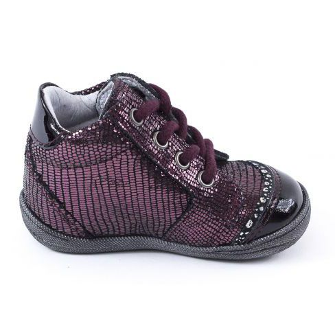 Bellamy Bottines bordeaux 1er pas bébé fille VAL à lacet