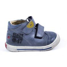 Boots garcon cuir bleu attache velcro GBB SAMY