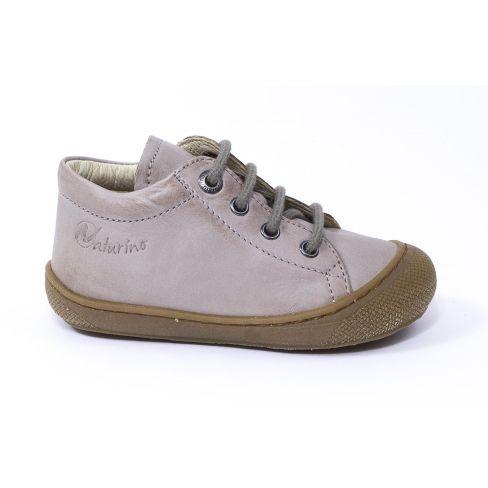 Naturino COCOON Chaussures bébé à lacet premiers pas souple garçon beige en cuir