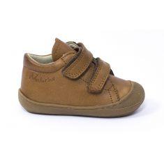 Naturino COCOON Chaussures bébé premiers pas souple garçon cognac à scratch en cuir