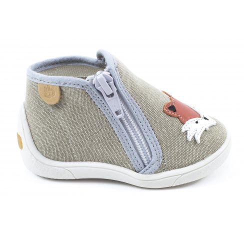 Babybotte chaussons pour garçon à fermeture MOUKY BEIGE