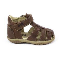 Sandales Noel en cuir pour garçon MINI TIN marron