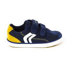 Geox Sneakers cuir garçon marine & jaune KILWI BOY