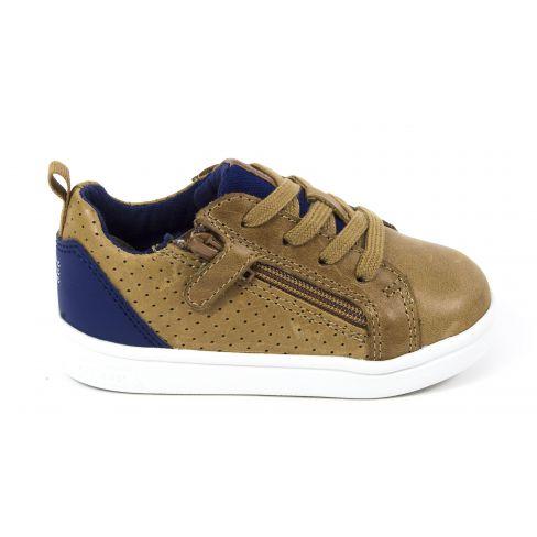 Geox Sneakers cuir garçon caramel & marine DJROCK BOY