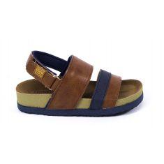 Gioseppo sandales garçon à scratch camel et bleu 47471
