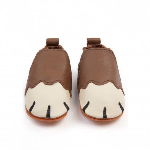 Boumy chaussons bébé souple en cuir PAWS Brown