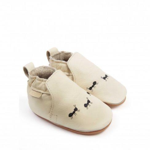 Boumy chaussons bébé souple en cuir ANTS Cream Leather
