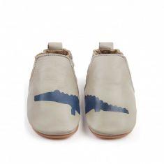 Boumy chaussons bébé cuir à élactique CHASE Croco