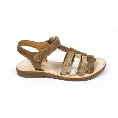 Sandales plates à lanières chic YLIANA camel à scratch