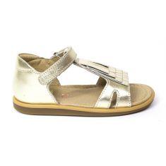 Sandales SHOO POM à scratch platine TITY FRINGE or platine maintien avec contrefort