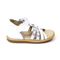 Sandales SHOO POM à scratch blanc argent TITY GRIGRI maintien avec contrefort