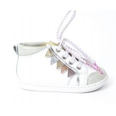 Boots SHOO POM à lacets blanc glitter BOUBA FLAG franges multicolores