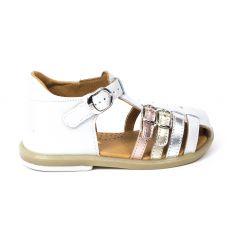 BABYBOTTE Sandales fermées fille TWIX blanc doré - maintien du pied