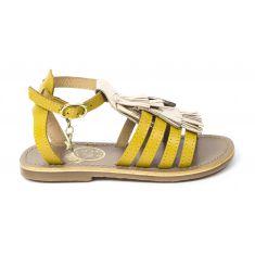 Sandales fille cuir WHITE SUN à frange PENSEE couleur or et jaune