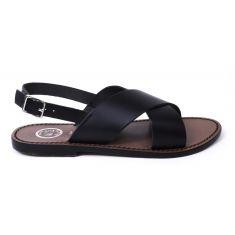 Sandales fille cuir WHITE SUN lanière croisée COROKIA couleur noir