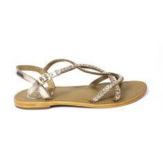 Sandales fille cuir WHITE SUN JUNO à boucle or