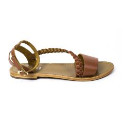 Sandales fille cuir WHITE SUN PUGLIA à boucle camel