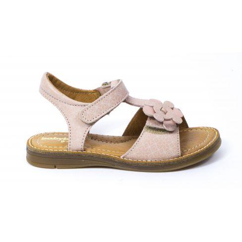 Sandales tendance or et rose en cuir pour fille KAKATOES à scratchs