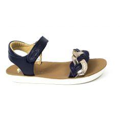 Sandales fille SHOO POM à scratch bleu et platine GOA WOWO