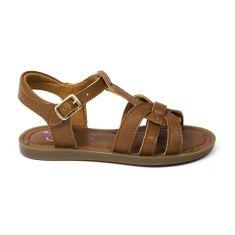 Sandales fille cuir SHOOPOM à boucle camel SOLAR BUCKLE