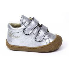 Naturino COCOON Chaussures bébé premiers pas souple fille en cuir argent à scratchs