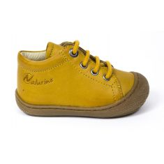Naturino COCOON jaune Chaussures bébé à lacet premiers pas souple garçon en cuir