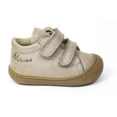 Naturino COCOON Chaussures bébé à scratch premiers pas souple garçon beige tortora en cuir