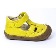 Naturino COCOON Chaussures bébé jaune ouvertes à scratch premiers pas souple garçon en cuir