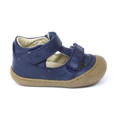 Naturino COCOON Chaussures bébé ouvertes à double scratch premiers pas souple bleu marine garçon en cuir