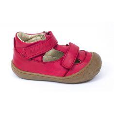Naturino COCOON Chaussures bébé ouvertes à double scratch premiers pas souple rouge garçon en cuir