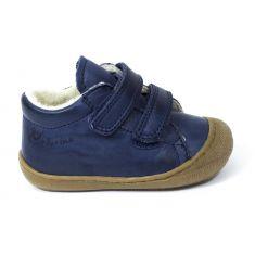 Naturino COCOON Chaussures bébé fourrées premiers pas souple garçon bleu marine à scratch en cuir
