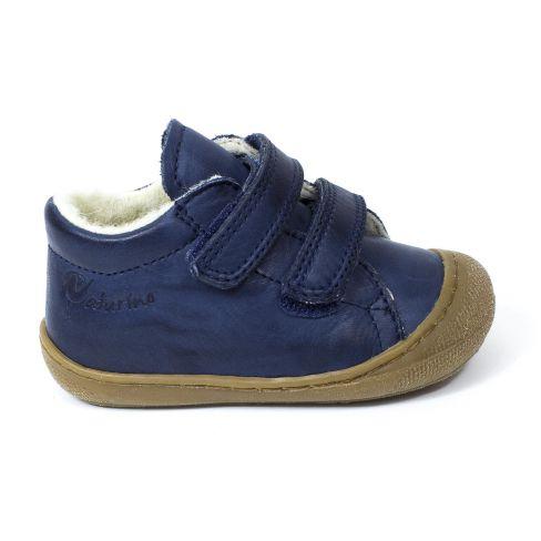 code promo 009eb 70aa1 Naturino COCOON Chaussures bébé fourrées premiers pas souple garçon bleu  marine à scratch en cuir