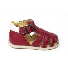 Babybotte sandales garçon GIMMY en cuir rouge à boucle
