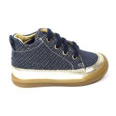 Babybotte Boots fille premiers pas à lacet FLOEL bleu marine