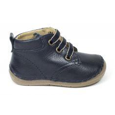 FRODDO Boots cuir à lacets garçon bleu marine - Chaussant large 1er pas bébé garçon