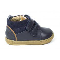 Shoopom Boots garçon à scratchs Bouba boy nappa/velours navy/camel