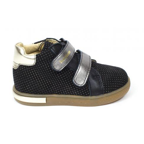 Babybotte Boots en cuir premiers pas fille à scratchs AZALISS noir