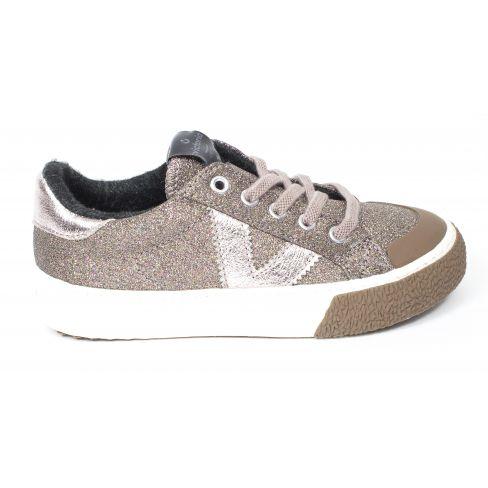 Victoria Sneakers à lacet élastique et fermeture TRIBU glitter rose  1065151