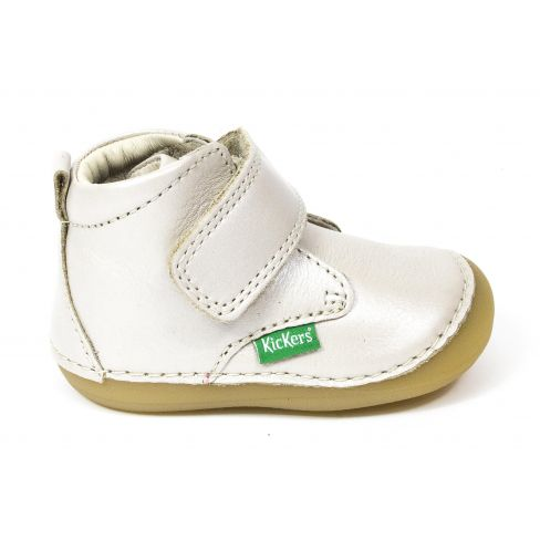 Kickers Bottillon Chaussons pour bébé SABIO blanc métallisé à scratch