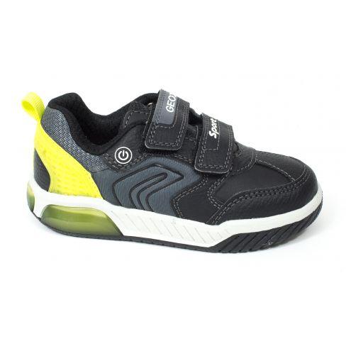 Geox Sneakers J INEK garçon à scratch noir / citron
