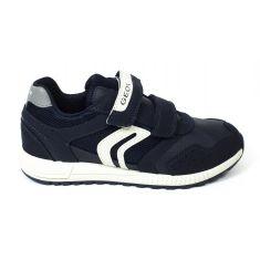Geox Sneakers J ALBEN garçon à scratch bleu marine / gris