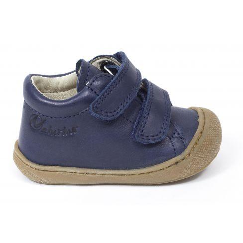 Naturino COCOON Chaussures bébé premiers pas souple garçon bleu marine à scratch en cuir