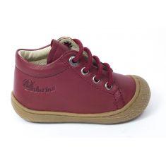 Naturino COCOON Chaussures bébé à lacet premiers pas souple rouge grenade garçon en cuir