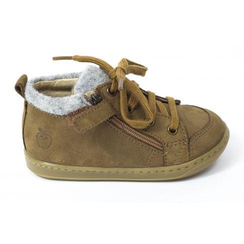Shoopom Boots garçon Bouba zip wool nubuck/tweed camel/grey