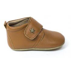 Bisgaard Baby star chausson en cuir bébé garçon Cognac  à scratch