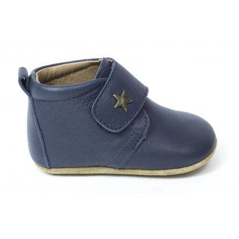 Bisgaard Baby star chausson en cuir bébé garçon bleu marine à scratch