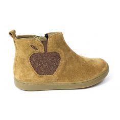 Shoopom Boots fille PLAY APPLE velours glitter camel bronze