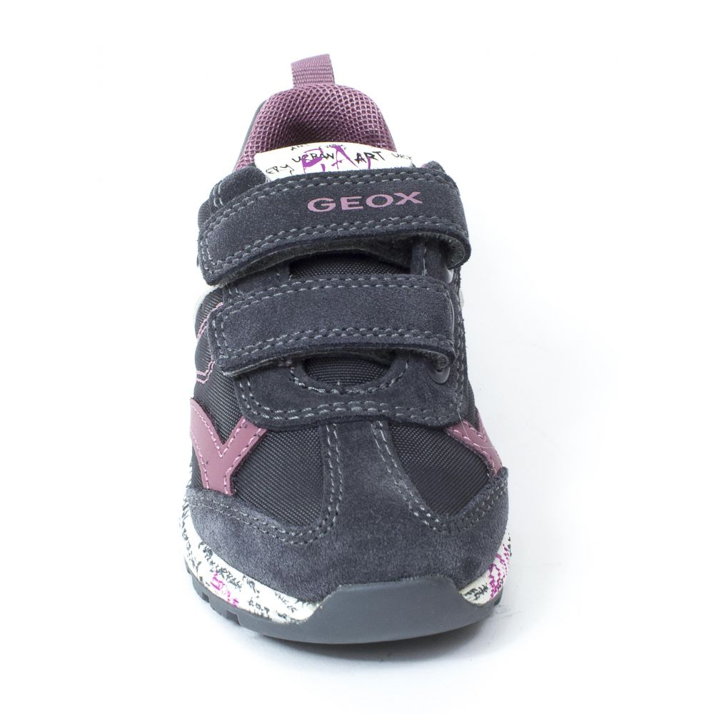 Geox Baskets Sneakers B ALBEN GIRL gris foncé à scratchs
