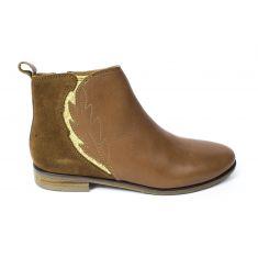 ADOLIE Boots fille Odeon velours camel et platine
